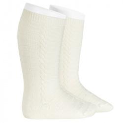 Braided knee socks CREAM