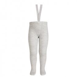 Merino wool-blend tights w/elastic suspenders ALUMINIUM