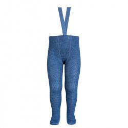 Merino wool-blend tights w/elastic suspenders JEANS