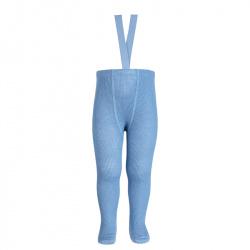 Merino wool-blend tights w/elastic suspenders BLUISH