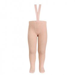 Merino wool-blend tights w/elastic suspenders NUDE