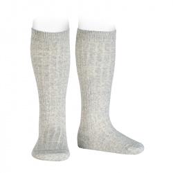Calcetines altos canalé de lana ALUMINIO