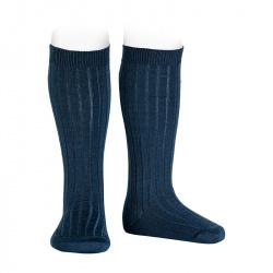 Chaussettes hautes côtelées en laine BLEU MARINE