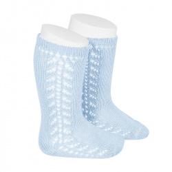Side openwork knee-high warm-cotton socks BABY BLUE