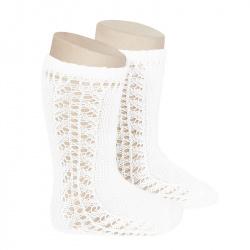 Side openwork knee-high warm-cotton socks WHITE