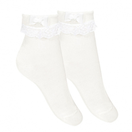 Ceremony ankle socks with folded cuff, lace & bow